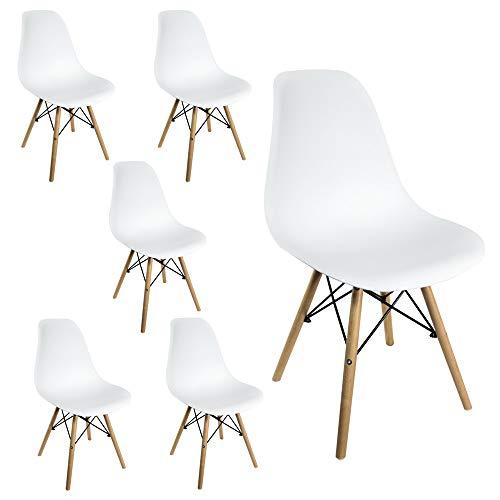 Sedie da Pranzo Giulia Bianche Design Nordico con Gambe in faggio (Bianco, 6 Pezzi)