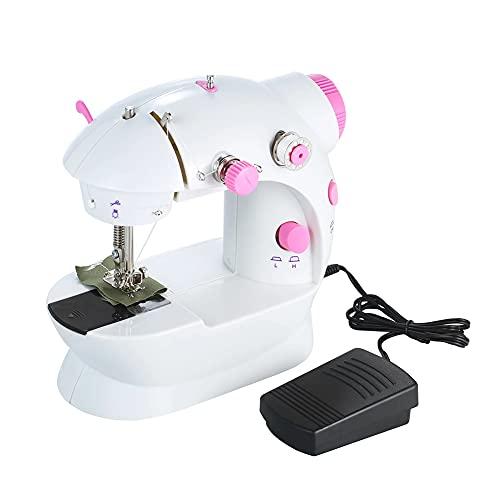 N / B Home Mini Máquina de Coser para Principiantes, máquinas de Coser eléctricas portátiles para niños, Tela de Mascotas, Doble Velocidad Ajustable 2-Hilo con Protector de Aguja