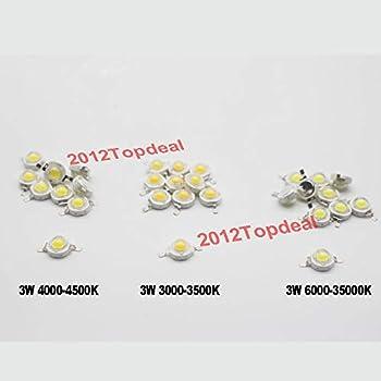 Jammas 50pcs 3W High Power Warm White Cool White Natural White 3000K 4500k 6500k 10000K 20000K 30000K LED chip for DIY -  Emitting Color  White 20000k Wattage  3W
