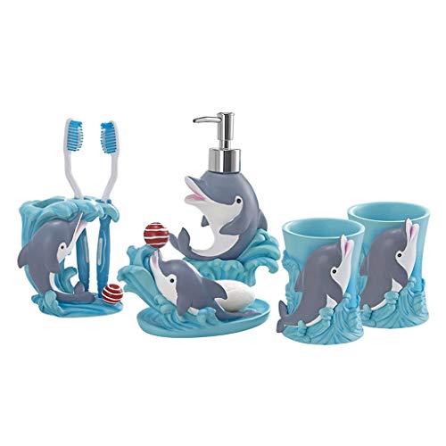 ZSIF Badkamer Accessoires Set Van 5 Hars Materiaal, Cartoon Creatieve Dolfijn Mondwater Beker Voor Kinderen Badkamer, Mondwater Beker, Tandenborstel Houder, Zeepbak, Lotion Fles
