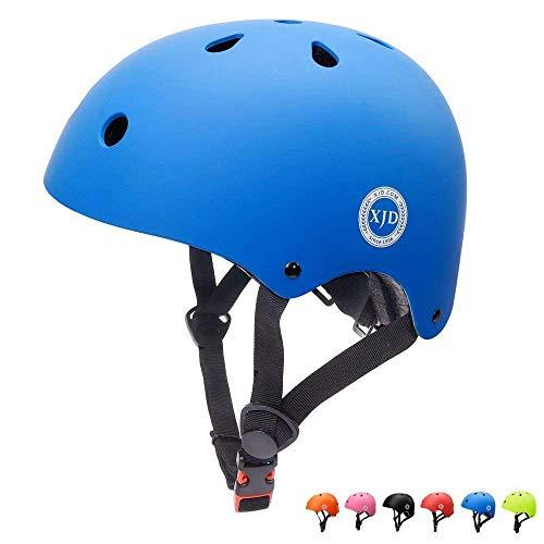 XJD Casco de Ciclismo para Niños Ajustable y Resiste al Impacto Ventilación con Muchos Colores -para Multideportivo Patineta Bicicleta Rollerskate Ciclismo (Azul, S)