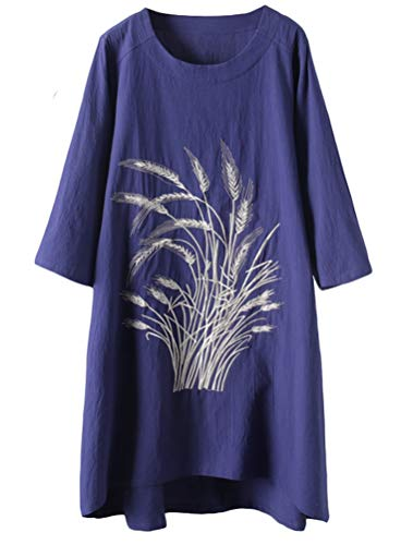 Mallimda Damen Leinenkleider Sommerkleid 3/4-Arm Geblümt Midi Kleid Lang Tunika Tops Navy L