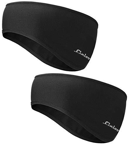 Linlook Winter Sport Stirnband für Damen und Herren - Ohrenwärmer Stirnbänder Ohrenschützer Warm Headband for Jogging, Laufen, Wandern, Fahrrad Motorrad Fahren Schwarz 2 Stück Farbe 1