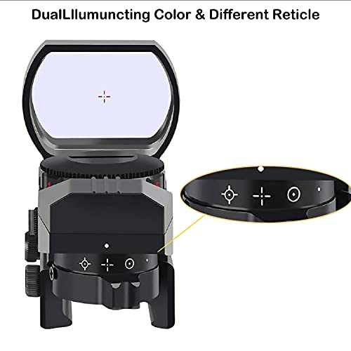 Red Dot Sight Gun Sights for Rifle Shotgun Pistol Reflex Sight with 4 Switchable Reticle & 20mm Standard Picatinny Rail Mount Both Red and Green in one Sight