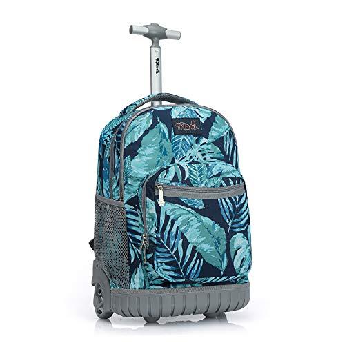 Tilami Rolling Backpack 19 inch Wheeled LAPTOP Boys Girls Travel School Student Trip, rainforest