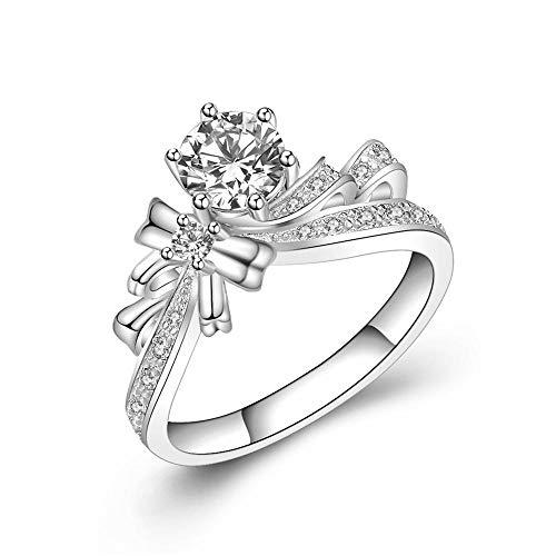 RKWEI Anillos Anillo De Diamantes De Seis Puntas con Incrustaciones De Diamantes Modelo Femenino Modelo Anillo De Diamantes@10.5