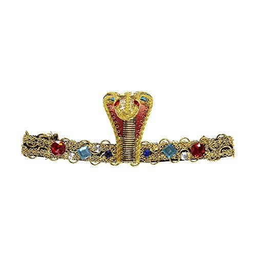 Widmann 05906 Deluxe Stirnband ägyptische Schlange mit Edelsteinen, Damen, Gold, Einheitsgröße
