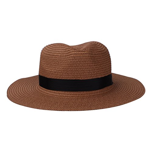 YOPINDO Cappello da Donna da Donna Cappello di Paglia da Donna Cappellino Rotondo con Visiera Piatta Cappello di Paglia Estivo (9215-Cachi)