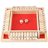 4444 Shut The Box Kinder Brettspiel Risiko Brettspiel Brettspiele Deluxe 4-Spieler Shut The Box Holz Tisch Spiel Klassisch Würfelspiel Board Spielzeug C4
