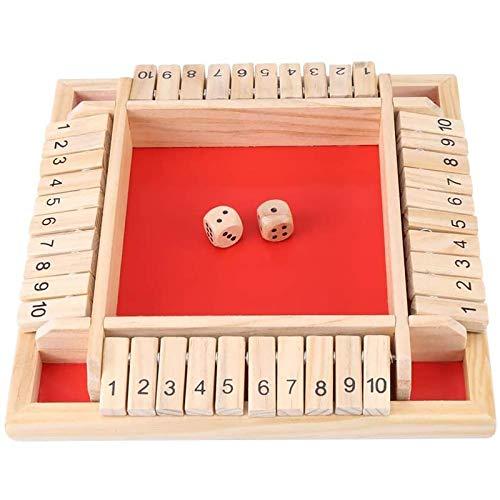 4444 Shut The Box Kinder Brettspiel Risiko Brettspiel Brettspiele Deluxe 4-Spieler Shut The Box Holz Tisch Spiel Klassisch Würfelspiel Board Spielzeug B4