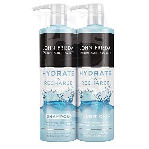 John Frieda Hydrate & Recharge Shampoo + Conditioner Set 2x 500ml For Dry, Lifeless Hair with Nutrient Rich Drops of Monoi Oil + Keratin for Hydrated Silky Soft Hair Large Pack