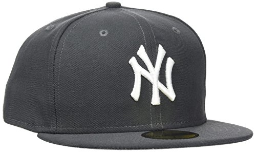 New Era Erwachsene Baseball Cap Mütze MLB Basic NY Yankees 59 Fifty Fitted, Graphite/White, 7 3/8