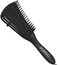 Detangling Brush for Afro America/African Hair, Textured 3a to 4c Kinky Wavy/Coily/Wet/Dry/Oil/Thick/Long/Curly Hair Detangler (Black)