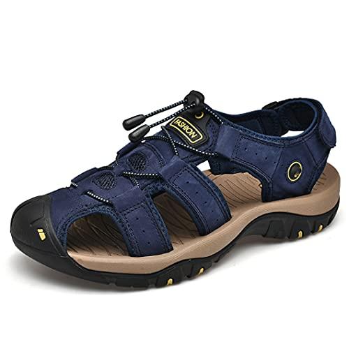 UJDKCF Sandalias de Cuero de Gran tamaño al Aire Libre Zapatos de Hombre de Cuero Casual Verano Playa Cómodo Sandalia Sandalias Sandalias Senderismo Chaussure Blue 39
