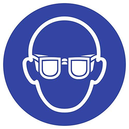 Aufkleber Augenschutz benutzen nach ISO 7010 10cm Ø Folie gemäß ISO 7010, M004