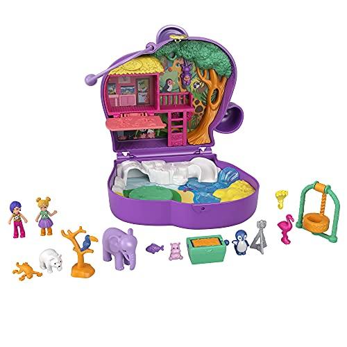 Polly Pocket GTN22 - Elefantenabenteuer Schatulle, 2 kleine Puppen, 5 Überraschungen, 13 Zubehörteile, ab 4 Jahren