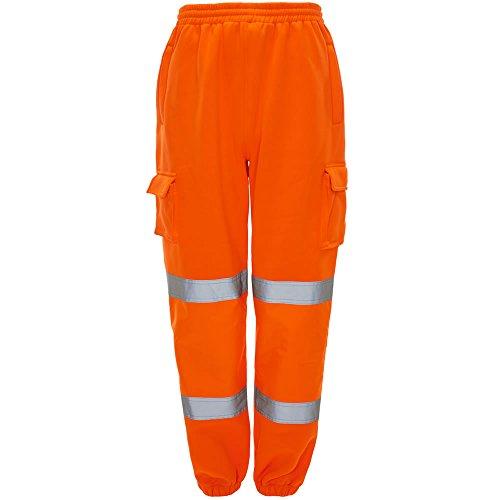 Signalfarbe Cargo Combat Arbeitskleidung Trainingshose Dick Pinsel Fleece Hosen Jogger - Orange GO/RT 3279 Schiene-spez EN471:2003 + A1:200, Large / 34-38W