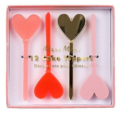 Acrylic Heart Cake Toppers, 12 Stück