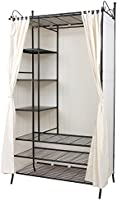 SONGMICS Wardrobe Clothes Cupboard Hanging Rail Storage Shelves with Metal Frame and Cover 108 x 210 x 58 cm RTG04H