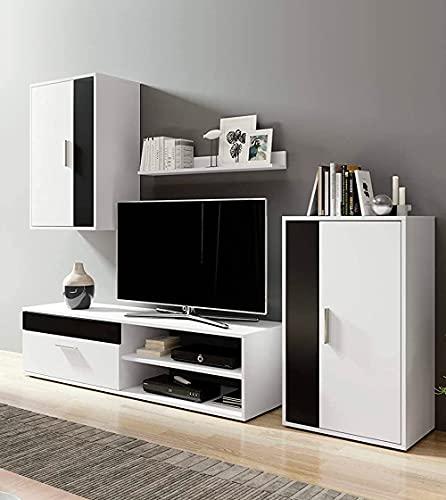 Home Heavenly® - Mueble salón Modular Bosco de 230 cm. Conjunto Completo Mueble TV + 2 vitrinas + Estante (Blanco-Negro)