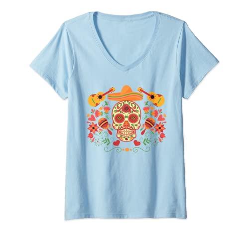 Mujer Tradicional Da de los Muertos Mxico Mariachi Band Sugar Skull Camiseta Cuello V