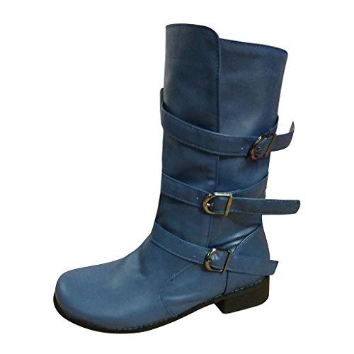 Allence Damen Klassisch Retro Schuh Mittlere Stiefel PU Boots Mit Westernabsatz rutschfest Runder Zeh Cowboystiefel SchnüRstiefel Flache Schuhe Blau 35-42