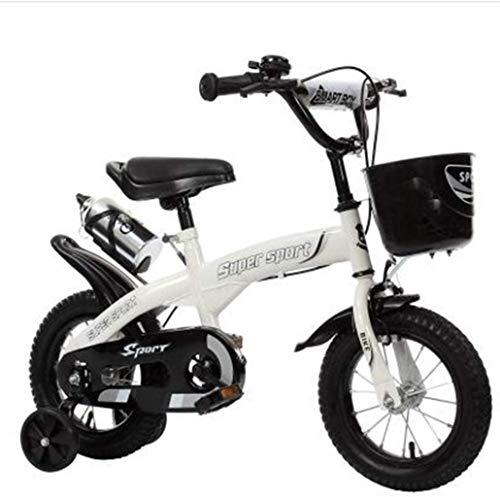HongLianRiven Bicicletas BMX para niños de 12/14/16/18 pulgadas, para niños y niñas, para niños de 2 a 9 años de edad 7 a 4 (color: blanco, tamaño: 14 pulgadas)