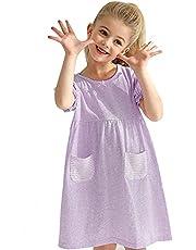 YOSION ガールズ パジャマ 薄い 半袖 可愛い 子供 ネグリジェ 夏 綿100% 女の子 ナイトドレス 柔らかい キッズ ワンピース パジャマ ルームウェア ナイトウェア ワンピース ドレス