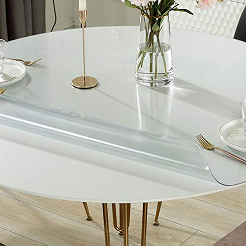 Geovne Frosted Clear Table Cover Protector,Round Floor Mat,PVC Vinyl Bar Dining Tabletop Furniture Pad,Wipeable Easy to Clean Tablecloth,for Coffee,Glass,Dining Room Table (90cm/35in)