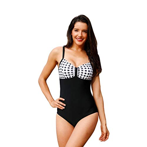 Adelina Damen Bademode Vintage 50S Pin Up Rueckenfrei Bademode EIN Stück Fashionable Badeanzug Lattice Bikini Bademode Beachwear Badeanzug Plaid Einteiliger Badeanzug (Color : Schwarz, Size : XL)