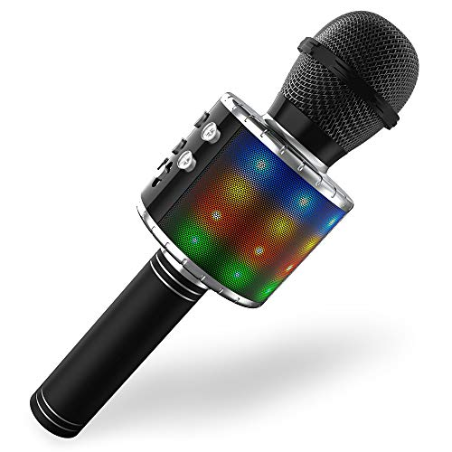 Wireless Bluetooth Karaoke Microphone,Portable Handheld Karaoke Mic Speaker Player with LED Lights, Adjustable Remix and Recording for Kids Adults Birthday Party KTV Christmas (Black)