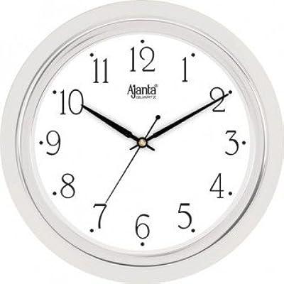Ajanta Round Plastic Wall Clock (24.7 cm x 24.7 cm x 3.2 cm, Silver)