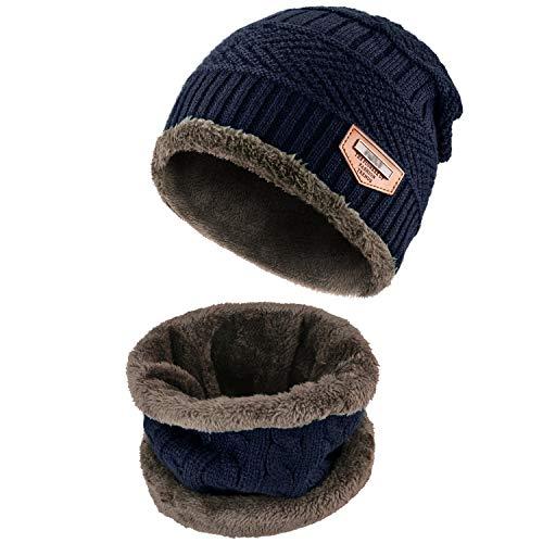 Wintermütze Herren, Warm Strickmütze und Schal mit Fleecefutter, Blau, Einheitsgröße
