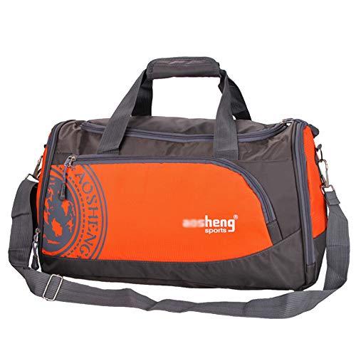 MERRYHE Fitness Gym Holdall pour Unisexe Duffles Sac à Bandoulière Sports Week-End en Plein Air Bagages Voyage Top-Handle Bags avec Chaussures Compartiment,Orange-49 * 25 * 25CM