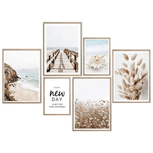 Impresión en lienzo de pared para decoración del hogar, diseño de cola de conejo, paisaje de hierba de 6 piezas, cuadro de ilustraciones, óleo, la decoración de paisaje, impresiones fotográficas