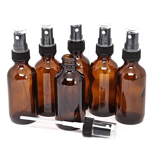Sunest 5pcs 5ml Ambre Glass Spray Flacon avec Black Fine Mist Sprayers Vide Atomiseur Vide pour Huiles Essentielles, Aromathérapie, Parfums, Parfums, Liquide Chimique, Plastic Sprayer, 30 ML