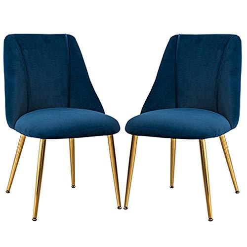 ZCXBHD Pack 2 Silla De Comedor Respaldo Ergonómico con Asiento Acolchado Estilo Vintage De Patas De Metal Dining Chairs Terciopelo Silla Cómodo Y Duradero (Color : Blue)