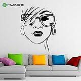 Tianpengyuanshuai Gafas de Moda calcomanía de Pared Vinilo Adhesivo Hermoso Arte salón de Belleza Tienda decoración de la Pared 63X81cm