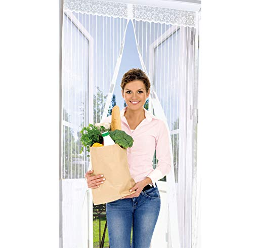 UTRAX Size 39''X83'' Hands Free Magnetic Curtain Door Retractable Screen Door Mosquito Net Mesh Guard Keep Bugs Insects Out (Pure White)