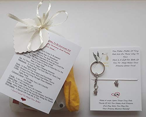 New Mummy and Daddy to Be Survival Gift Kit from The Baby Bump with A Lovely Keepsake Baby Feet Charm Wish Bracelet for The Mummy and A Baby Feet Charm Wish Keyring for The Daddy Included