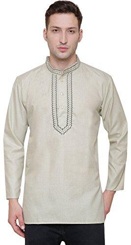 Maple Clothing - Camisa bordada para hombre, algodón kurta - Verde - Large