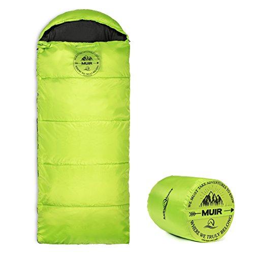 Lucky Bums Kompakter Leichter Muir Frühling Sommer Herbst Schlafsack Jugend 40°F/5°C mit digitalem Zubehörfach Kompression Tragetasche im Lieferumfang enthalten, Kinder, 179.64GR, grün, 64-Inch