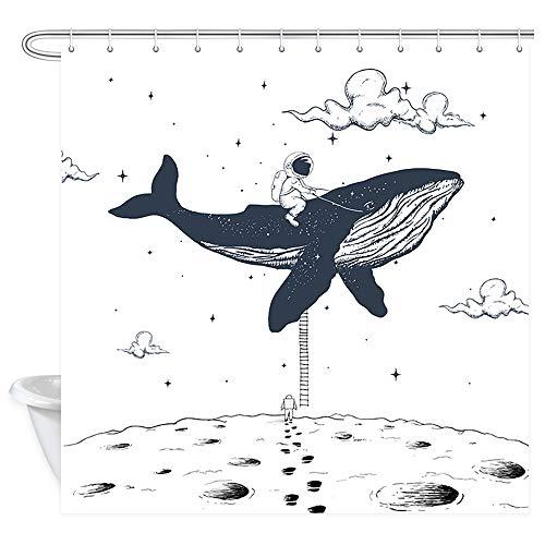 NYMB Kinder Duschvorhang Astronaut reitet einen Wal auf dem Mond, Fantasie-Kinder-Cartoon-Vorhang aus wasserdichtem Stoff, Badezimmer-Accessoire, Deko-Set mit Haken, 174 x 178 cm