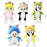 HKSN 5Pcs Mario Plush Toy Yellow Cat Mary Green Cat Pink Blue Blue Cat Princess Cat Mushroom Figurin...