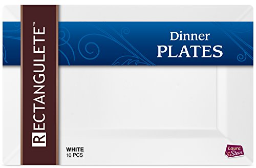 [10 Count - 13.5 Inch Plates] Rectangulete Designer Tableware Premium Heavyweight Plastic White Color Rectangle Dinner Plates With Border, Party & Wedding, Event Plate, Disposable Dishes