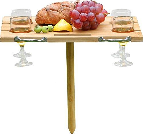 Inno Stage Picknicktisch Bambus Tisch Wein und Snack tragbar zusammenklappbar Ständer für Outdoor Strand Park oder Indoor Bett