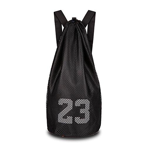 HNJZX Bag Backpack Gym Sack Sport Duffle Travel Tote Shoulder Bags School Rucksack with Large Zip Pocket for Teens Adults (Black)