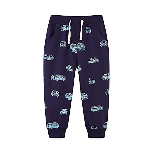 WTFK 2-7 Years Boys Sweatpants Cute Cartoon Toddler Kids Jogger Pants Casual Active Playwear Sweats Pants