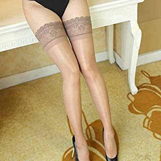 YZT Stockings Women Thigh High Sheer Lace Fishnet Stockings Hosiery Ladies Red Black White Hollow Out Mesh Stocking (Color : Apricot Style 4)