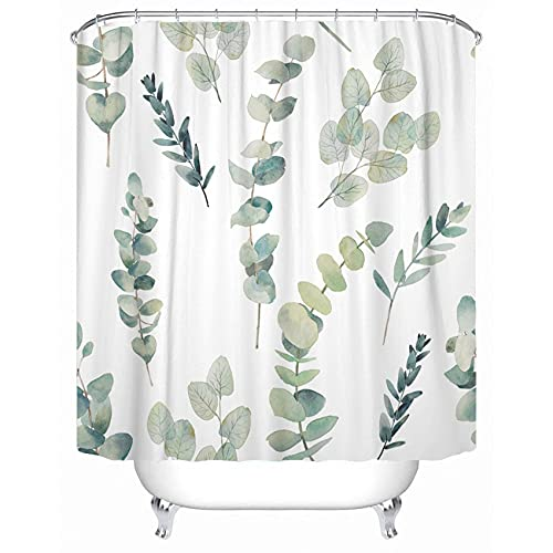 """Emvency Fabric Shower Curtain with Hooks Green Leaf Watercolor Eucalyptus Branches Hand Floral with Plant on White Natural Twig 72""""X72"""" Decorative Bathroom"""
